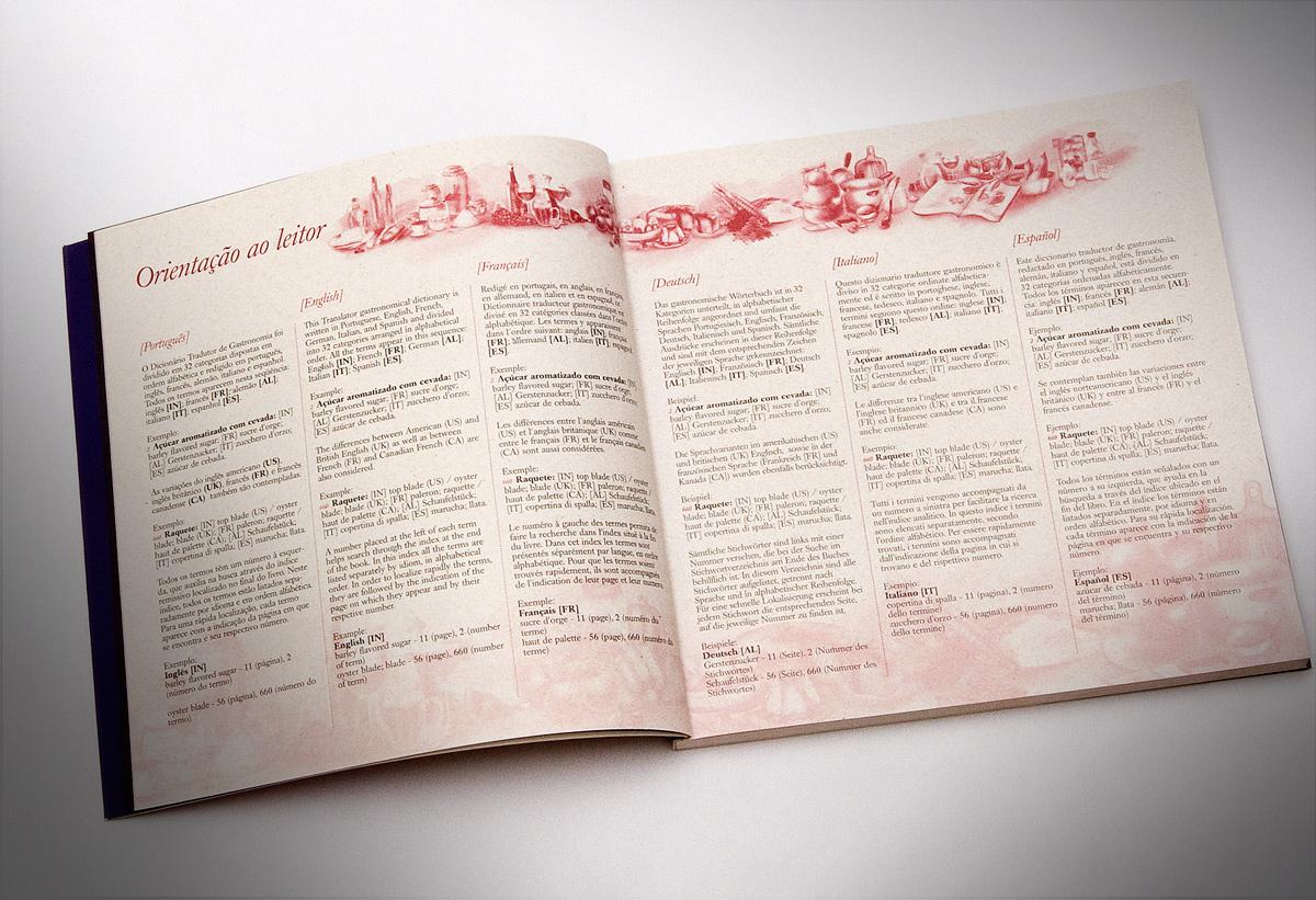 página interna do dicionário tradutor de gastronomia