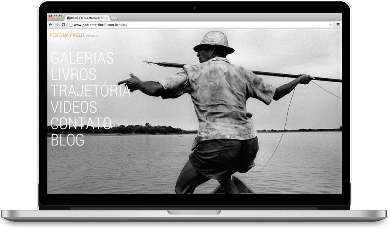 página inicial do site do fotógrafo Pedro Martinelli