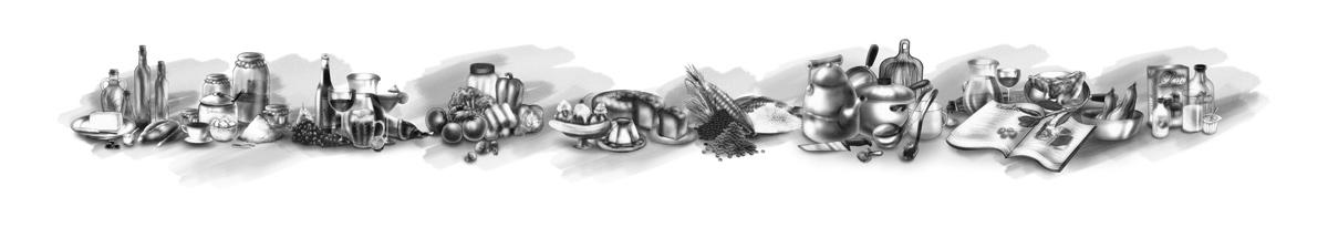 ilustrações para o dicionário tradutor de gastronomia