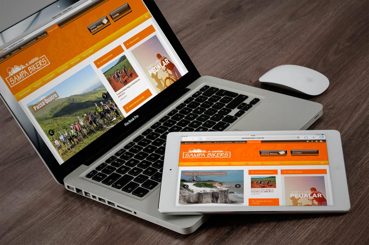 Site Sampa Bikers em diferentes plataformas