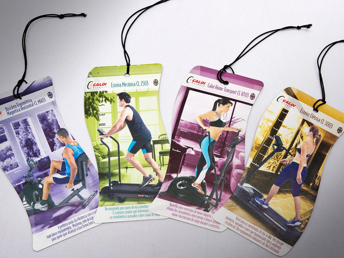 Tags de produtos para a linha Caloi Fitness