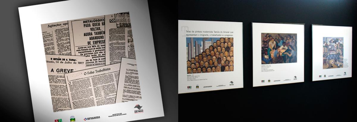 detalhes dos quadros da exposição