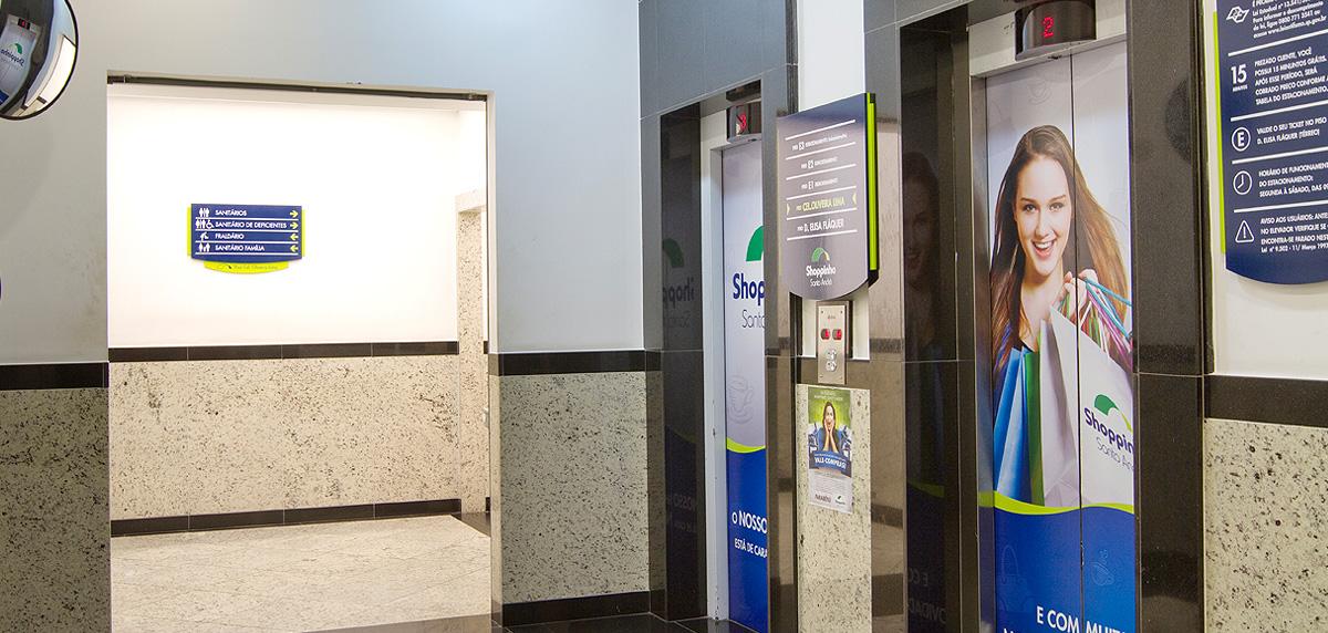 sinalização e aplicação de campanha para o Shopinho Santo André