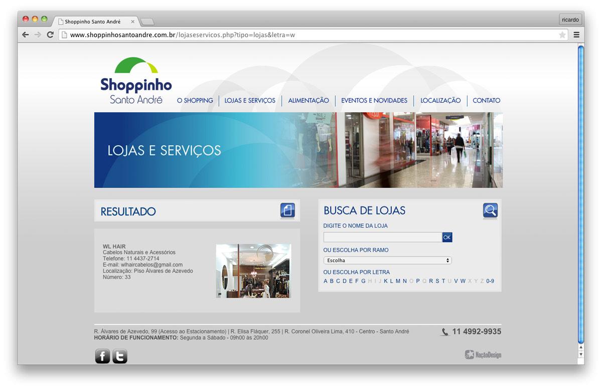 página site Shoppinho Santo André