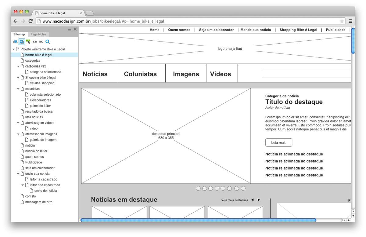 estudo de wireframe para o site